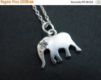 SALE Elephant Necklace, Silver Necklace, Silver Elephant Pendant, Silver, Cubic Zirconia, Friend Gift, Cute Gift, Animal Jewelry