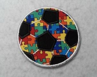 Soccer Ball Autism Awareness Puzzle Piece (small) Tutu & Shirt Supplies - fabric iron on Applique Patch 7469