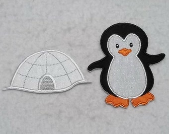 Penguin and Igloo (small - set of two) MADE to ORDER - Tutu & Shirt Supplies - Iron on Applique Patch 7355