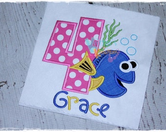 Custom Finding Dory - Finding Dory - Tang Fish Inspired Birthday Embroidered Applique Shirt