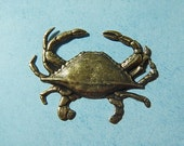 Antiqued Brass Ox Dungeness Crab Charm Charms Stamping Scrapbooking Jewelry
