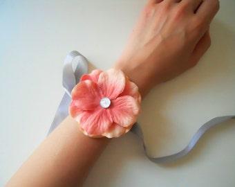 Coral, Peach Hydrangea Wrist Corsage with Rhinestone Accent