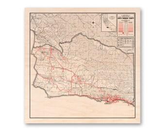 Santa Barbara County, Maple Wood Print Map, 1934 California Map, Home Decor, Wall Art