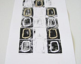Minimalist Geometric Art Linocut - 15 studio flats - Original Artwork, printmaking, stamped art, handmade, drawing, black and white, 12x18