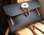 reclaimed leather fire kit w/antler botton - contains birch bark and char cloth tin for bushcraft fire starting