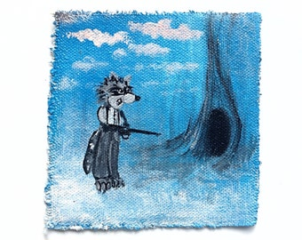 Raccoon with a rifle original wearable art patch