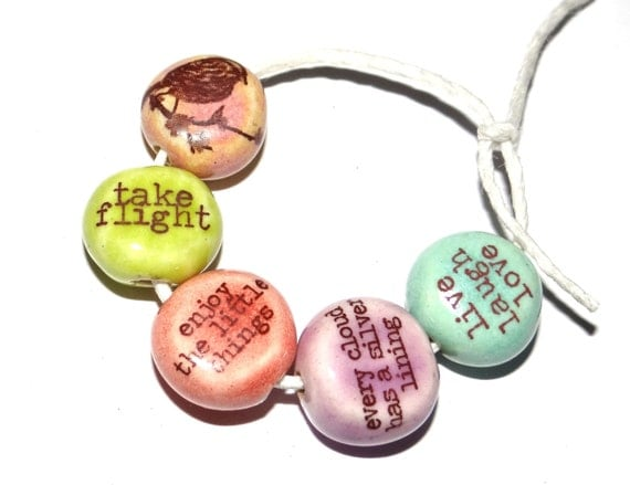 Ceramic Quote Bead Set