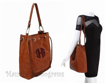 Personalized Tote Bag or Purse Textured Faux Leather Brown with Double handles comes with 3 Initial Monogram