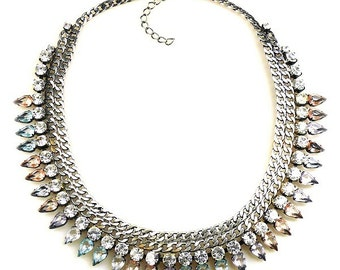 Luxury Masai Rhinestone Statement Necklace spring pastel tones