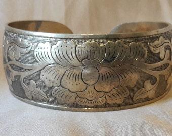 Vintage Southwestern Desert Flower Silver Plate Cuff Bracelet 1960s