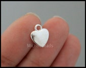 5 Silver HEART Charm Pendants - 12mm Small Silver Puffed Metal Heart Love family Charm Dangle - Instant Shipping - USa DIY - 6463