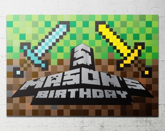 Pixel Block Video Game Backdrop - Party Printable - creeper DIY Print candy buffet sign, dessert table, building blocks, gamer, cube, craft