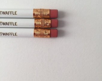 Naughty frenemy pencils reading tw-twaffle MATURE swears  3 engraved pencils in white. Back to school.
