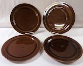Vernon Kilns Plates Brown Early California Four 10-1/2 Inch Dinner Plates
