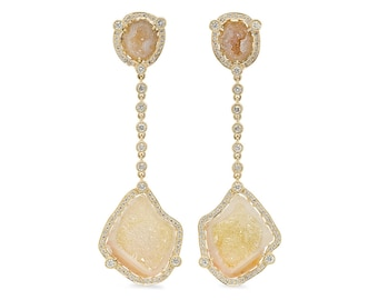 Diamond Halo Geode Drop Earrings in 14k Yellow Gold 1.25 ct tw | ready to ship!