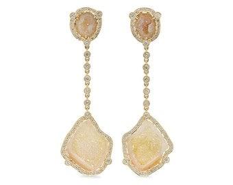 Diamond Halo Geode Drop Earrings in 14k Yellow Gold | ready to ship!