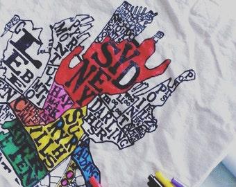 DIY coloring in canvas tote bag - Sydney city map