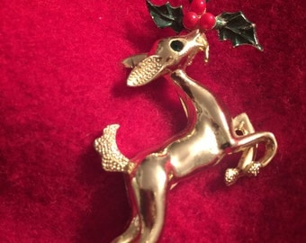 Christmas brooch Rudolph The Red Nose Reindeer pin rhinestones