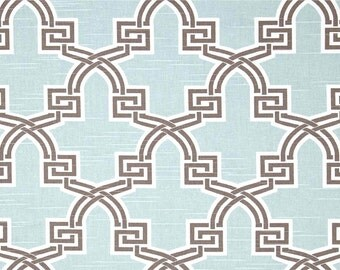 Fabric Yardage Snowy Blue and Brown Fabric - Premier Prints Fabric - Hiro Trellis Feathers - Fabric by the Yard