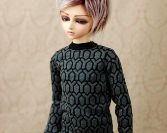 SD Boy Grey And Black Geometric Sweater For BJD