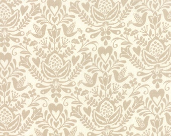 Tan and White Rosemaling Folk Art Fabric - North Woods by Kate Spain from Moda 1 Yard