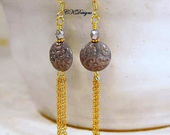 Czech Bead Tassel Earrings, Gold Tassel Pierced or Clip-on Dangle Earrings, Gift For Her, CKDesigns.us