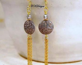 SALE  Czech Bead Tassel Earrings, Gold Tassel Pierced or Clip-on Dangle Earrings, Gift For Her, CKDesigns.us