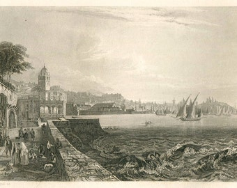 1856 Antique Print Genoa Italy View of the Port Black and White Engraving