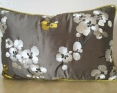 EMBROIDERED BLOSSOM rectangle Lumber piped Accent SILK cushion cover Pillow Sham White & Yellow blossoms on grey silk Fabric from Romo