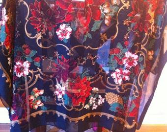 Poinsetta Design Vintage Ladies Scarf