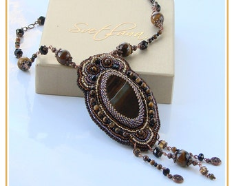 SALE 30%!!! Bead embroidered necklace pendant  with the beautiful brown Agate and Tiger eye gemstones Fashion Handmade jewelry