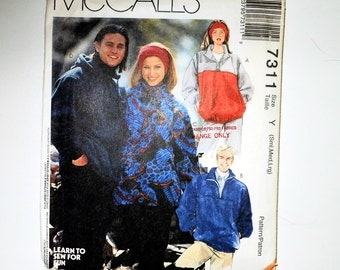 Vintage McCalls Misses And Men's Loose Fitting Pullover Tops And Headband 1994 Uncut For Stretch Knits Sizes S Md Lg Pattern Number 7311