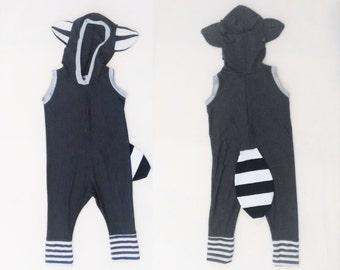 Raccoon playsuit / Fox summer costume / baby costume / kids jumper / Romper