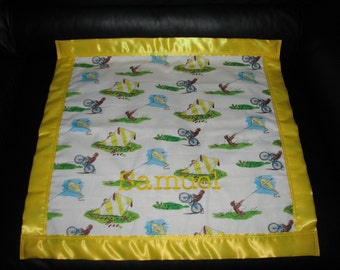Curious George Cotton/Fleece Blanket 22x22 Personalized