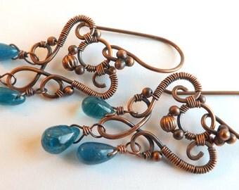 Blue Apatite Gemstone Earrings, Antique Copper, Wire Woven, Chandelier