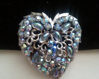 Now On Sale Coro Blue Rhinestone Heart Brooch Big Bold Classy Vintage 1950's Designer Signed Old Hollywood Glam Jewelry