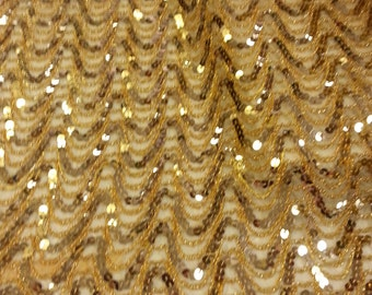 Gold Sequins on Chiffon Scalloped