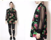 BTS Red Black Roses Sheer Sleeve 80s 90s Long Sleeve Blouse Button Up Womens