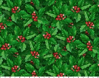 JOLLY OLD St NICHOLAS- green holly and red berries- Northcott Christmas cotton quilt fabric by the yard