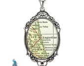 Vintage Map Necklace Oval Filigree Pendant City of St Augustine Florida Antique Map Pendant State of FL Map Jewelry Destination Travel