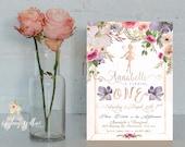 Fairy Invitation First Birthday Invitation Shabby Chic Invitation Birthday Invitation Fantasy Invitation Gold Sparkles Invitation Fairytale