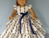 18 inch Retro ruffled  doll dress. Fits American Girl Dolls. Ivory floral.