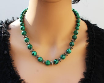 Handcrafted Green Malachite Statement Necklace, One of a kind, Classy, Stylish, Elegant, Unique artisan Holiday, Christmas Gift,