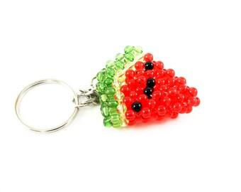 Watermelon Keychain, Watermelon Slice Keychain, Summer Watermelon, Beaded Watermelon, Beaded Watermelon Keychain, Summer Fruit Keychain