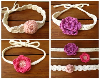 Crochet Flower Headband Pattern - Crochet Patterns by Deborah O'Leary