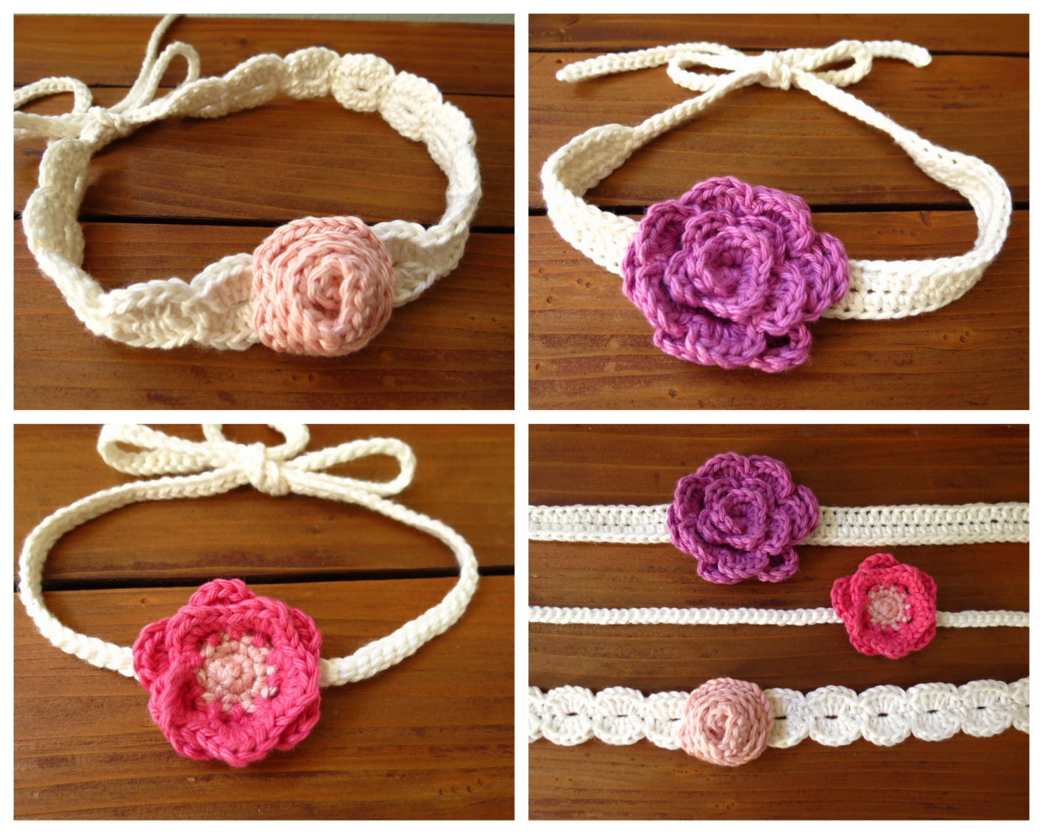 Crochet Headband Pattern For Baby With Flower : Crochet Flower Headband Pattern Crochet Patterns by Deborah