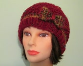 Chunky Hand Knit Hat with Bow - Wine color