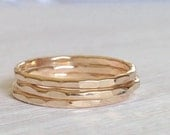 Gold Stacking Rings Set Of 3 - 3 Layering Rings -14k Gold Filled Hammered Ring Set of 3 - Hammered Gold Ring - Stackable Rings - Thin Gold