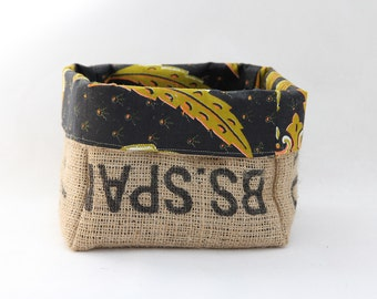 Upcycled Coffee Sack and African Wax Print Storage Basket Medium