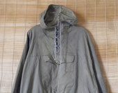 Vintage Dyed Blue Green Canvas Hooded Pullover Anorak Front Pocket Parka Smock Size XL